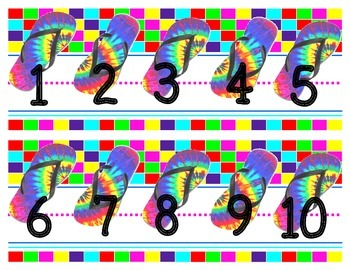 Large number line chalkboard display {tye dye flip flop theme}