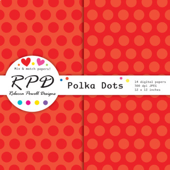 Large polka dots spots bright rainbow colours digital paper set/ backgrounds