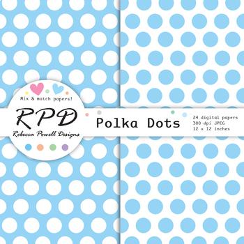 Large polka dots spots pastel colours & white digital paper set/ backgrounds