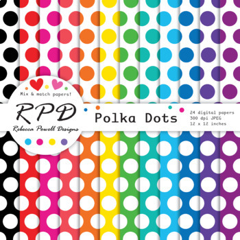 Large polka dots spots rainbow colours & white digital paper set/ backgrounds