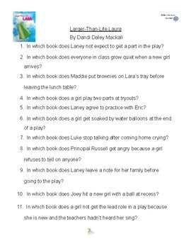 Larger Than Life Lara by Dandi Daley Mackall, Battle of the Books Questions