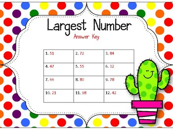 Largest Number Task Cards. Comparing Numbers. Counting to 100.