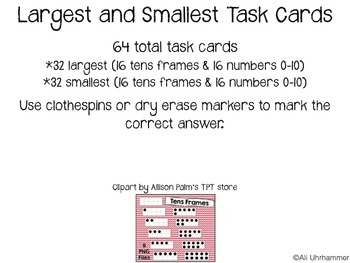 Largest/Smallest Task Cards 0-10