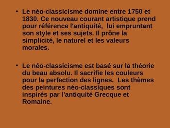 L'art francais French Néo-classicisme, romantisme, réalisme presentation 51 pgs!