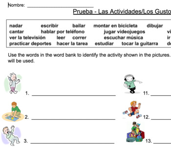 Las Actividades/Los Gustos Vocabulary Set with powerpoint and practice sheets
