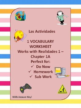 Las Actividades - Vocabulary Practice Realidades 1, Chapter 1A