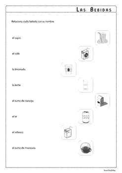 Beverages in Spanish - Las Bebidas - Activity Pack