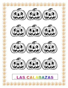 Las Calabazas- Halloween-Spanish Colors - Pumpkins
