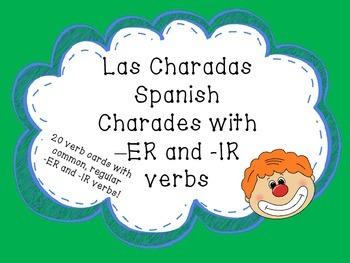 Las Charadas Spanish -ER and -IR Verb Charades Game Flashcards