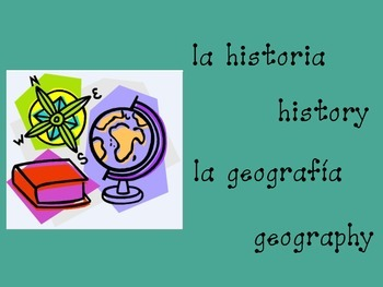 Las Clases (Cursos Escolares) Spanish Classes Vocabulary PowerPoint & Word Wall