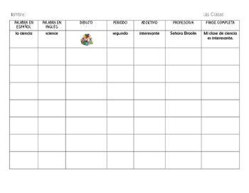 Las Clases - School Subjects Vocabulary Chart
