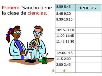 Las Clases y Las Materias:  Names of classes with practice and quiz