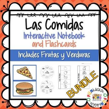 Las Comidas, Frutas y Verduras Flashcards and Interactive Notebook BUNDLE