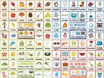 Las Cuatro Estaciones SPANISH Vocabulary Seasonal Word Wall Bundle