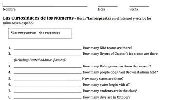 Las Curiosidades de los Numeros Webquest/ Numbers Trivia