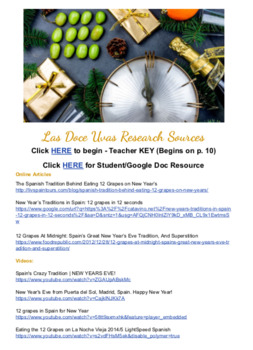 Las Doce Uvas - New Year's Eve in Spain - Activities and Digital Escape Room