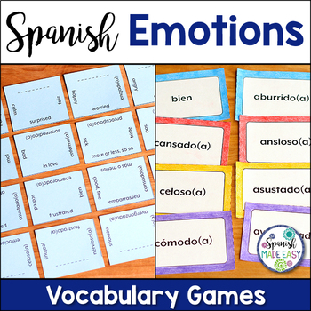 Las Emociones (Emotions) Matching Squares and Flash Cards