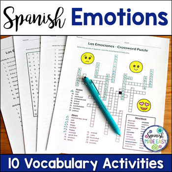 Las Emociones (Emotions) Spanish Vocabulary Activities