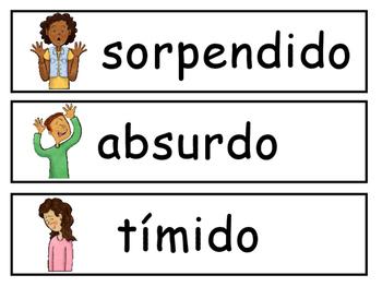 Las Emociones Vocabulary Word Wall – Spanish Emotions Vocabulary