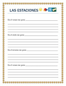 Spanish Seasons- Vocabulary & Writing prompt