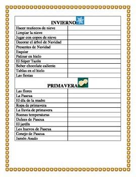 Spanish Seasons- Vocabulary & Writing prompt