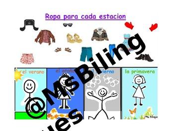 Las Estaciones Seasons Interactive Mimio Board Activity