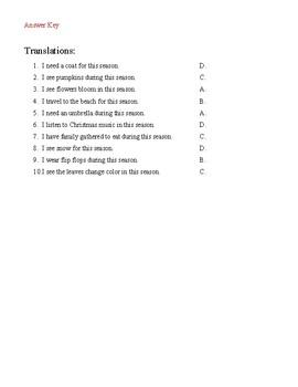 Las Estaciones y El Tiempo - Translation & Writing Activity