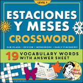 Las Estaciones y Los Meses Spanish Seasons and Months Crossword Puzzle
