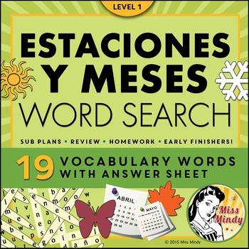 Las Estaciones y Los Meses Spanish Seasons and Months Word Search Puzzle