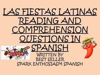 Las Fiestas Latinas Reading and Comprehension Questions in Spanish