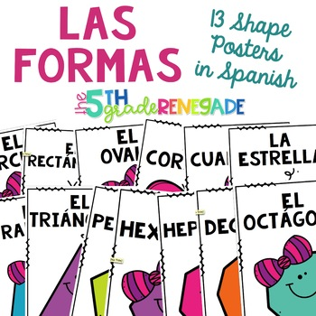 Las Formas Math Anchor Charts 2D Shapes in Spanish Español