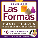 Las Formas: Spanish Shapes Vocabulary Crossword Word Search Puzzle Set