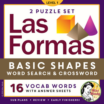 Las Formas: Spanish Shapes Vocabulary Word Search Puzzle W