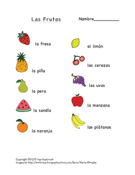 Las Frutas- Fruit Vocabulary Masters and Flashcards