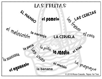 Las Frutas Fruits Spanish La fruta