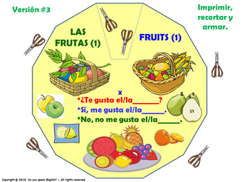 Las Frutas / Fruits in Spanish