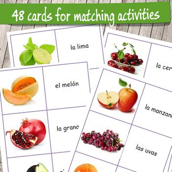 Las Frutas - Fruits in Spanish Flashcards bundle