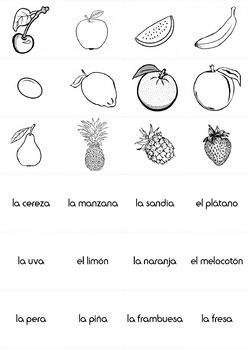 Food: Fruits in Spanish - Las Frutas - Memory Game