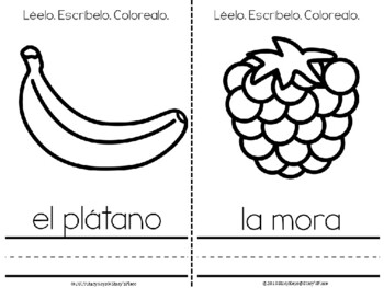 Mini-Booklet: Las Frutas. Léelo. Escribelo. Colorealo.