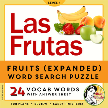 Las Frutas: Spanish Fruit (Expanded) Word Search Vocabulary & Puzzle