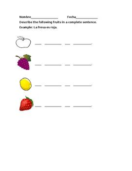 Las Frutas worksheet