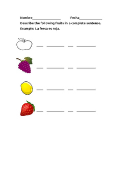 Las Frutas worksheet
