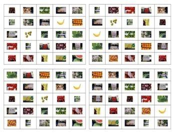Las Frutas y Las Verduras Bingo