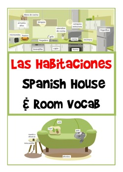 Las Habitaciones - Spanish House and Room Vocab Flashcards/ Large Posters