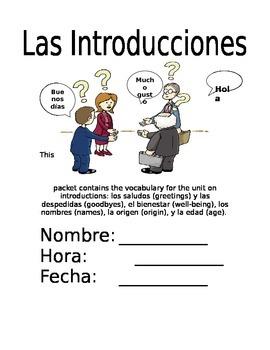 Las Introducciones - Vocab Packet