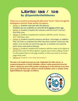 Las /Los + cosas +son +colores Librito de palabras frecuentes. HFW books Spanish