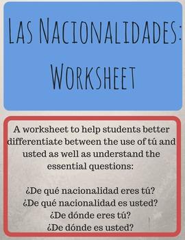 Las Nacionalidades: Worksheet