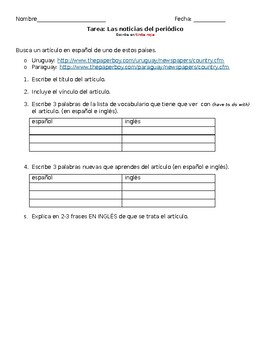 Las Noticias - Online Article Summary Worksheet