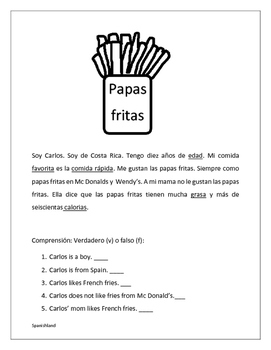 Las Papas Fritas (Food and verb like in Spanish)