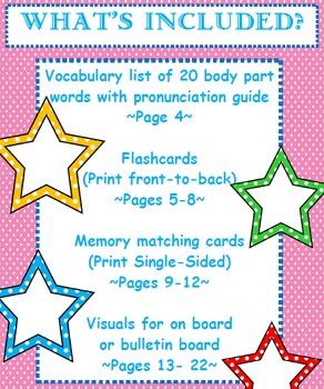 Las Partes del Cuerpo- Vocabulary List, Flashcards, Memory Game, & Visuals
